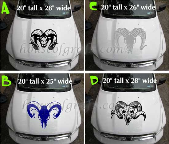Custom Ram Head Skull Vinyl Decal Decals 4x4 Truck Graphic