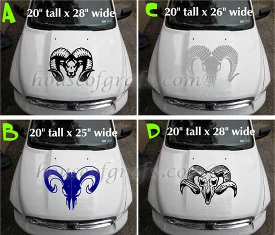 Custom Ram head skull vinyl decal decals 4x4 truck graphic