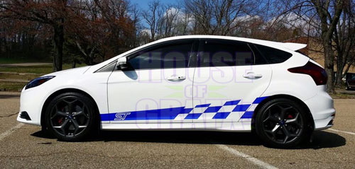 Checkered Stripe Decal Graphic Fits Ford Focus St Shelby