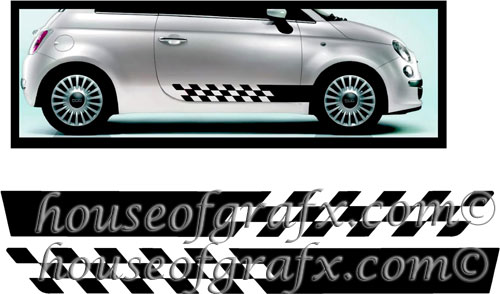 Checkered Rocker Panel Graphics Decals For Fiat Abarth - Bmw rocker panel decals