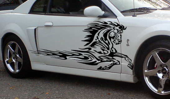 Flaming horse side graphics decals fits trailers trucks mustang