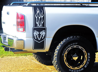 Tribal Ram Head Bed Side Bedside Decal Decals Graphics Fit Dodge - Truck bed decals custombody graphicsdodge ram