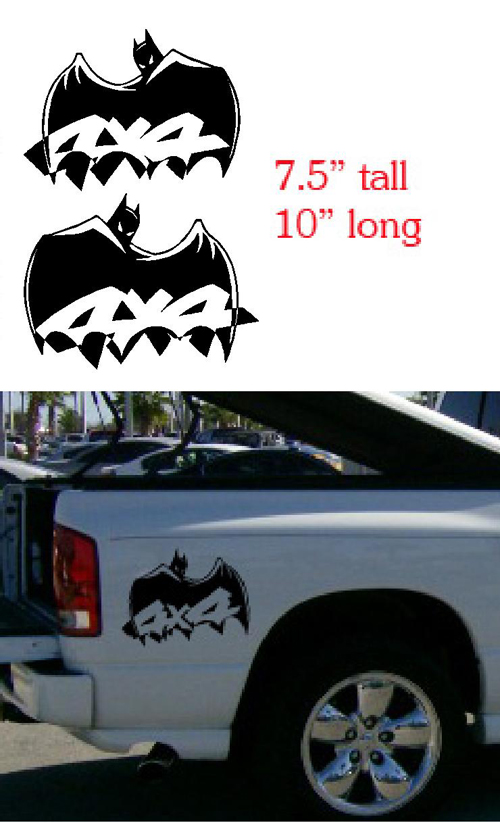 Custom Batman 4x4 Bedside Decals Decal Stcker Dodge Ford
