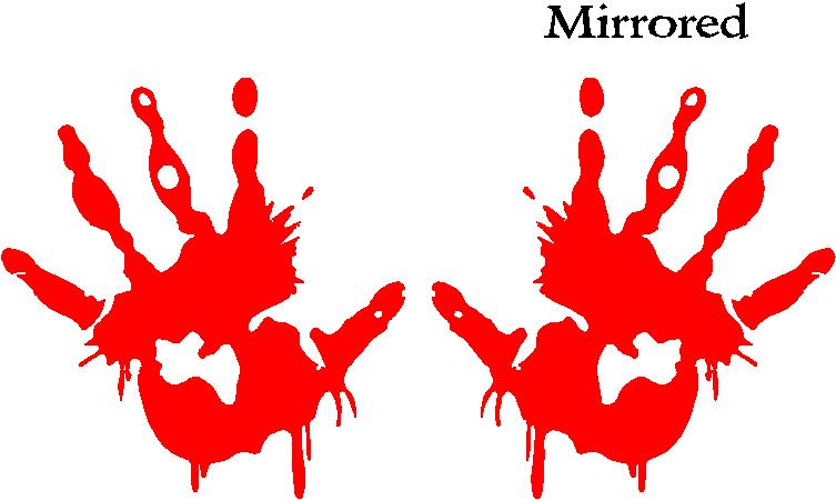 Red Vinyl Cut Out - Bumper Sticker Bloody Hand Smear