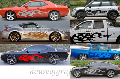 side body tribal flame flames graphics fits any car truck