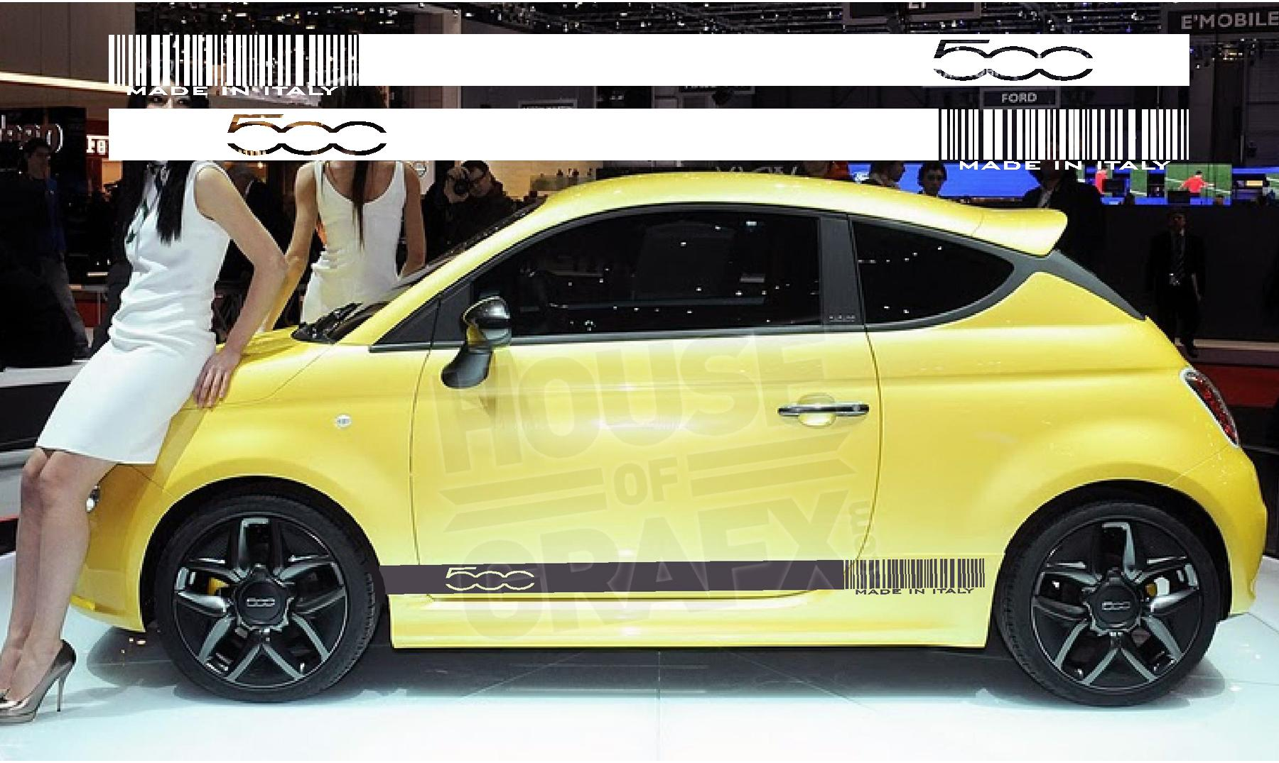 Vinyl barcode rocker panel graphics decals decal fits fiat 500