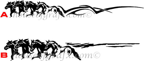 4 Horses Running Trailer Truck Farm Decal Decals Graphics