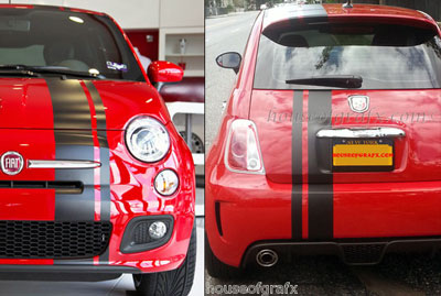Offset Stripe Stripes Decals Graphics Fit Any Fiat 500 Abarth