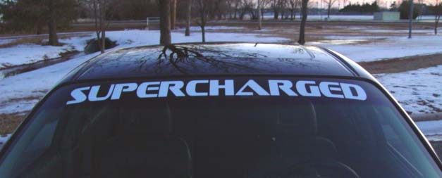 Pontiac grand prix supercharged windshield banner decal decals