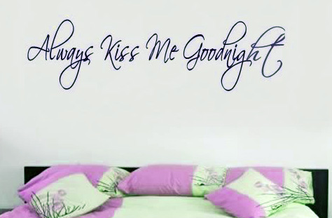 Always Kiss Me Goodnight Wall Art always kiss me goodnight wall art lettering vinyl decal decals
