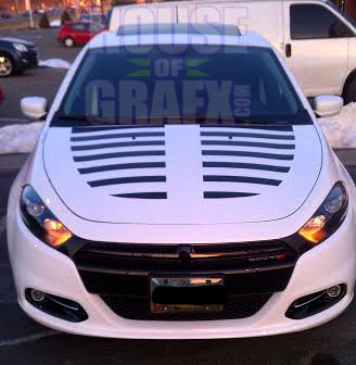 Strobe Hood Decal Decals Graphis Stripes Fit 2013 Dodge