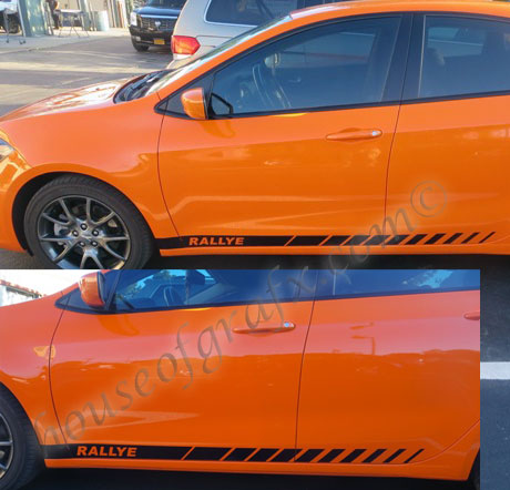 Rocker panel gradient strobe style decals graphics fit any dart