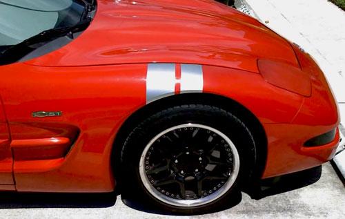 C6 Chevy Corvette Fender Hash Racing Stripe Decals Decal