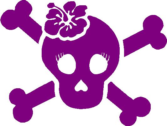 Girl girlie skull decal with hibiscus hawaiian flower decals