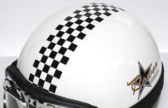 3 Vinyl Motorcycle Vespa Helmet Checkered Stripe Graphic