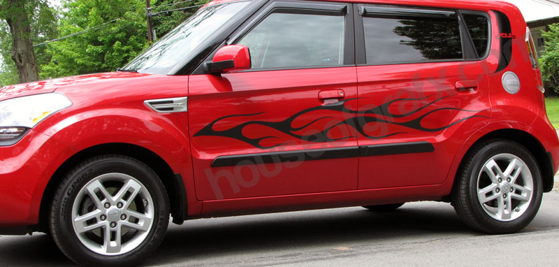 Flame Flaming Side Body Decal Decals Graphics Fit Kia Soul