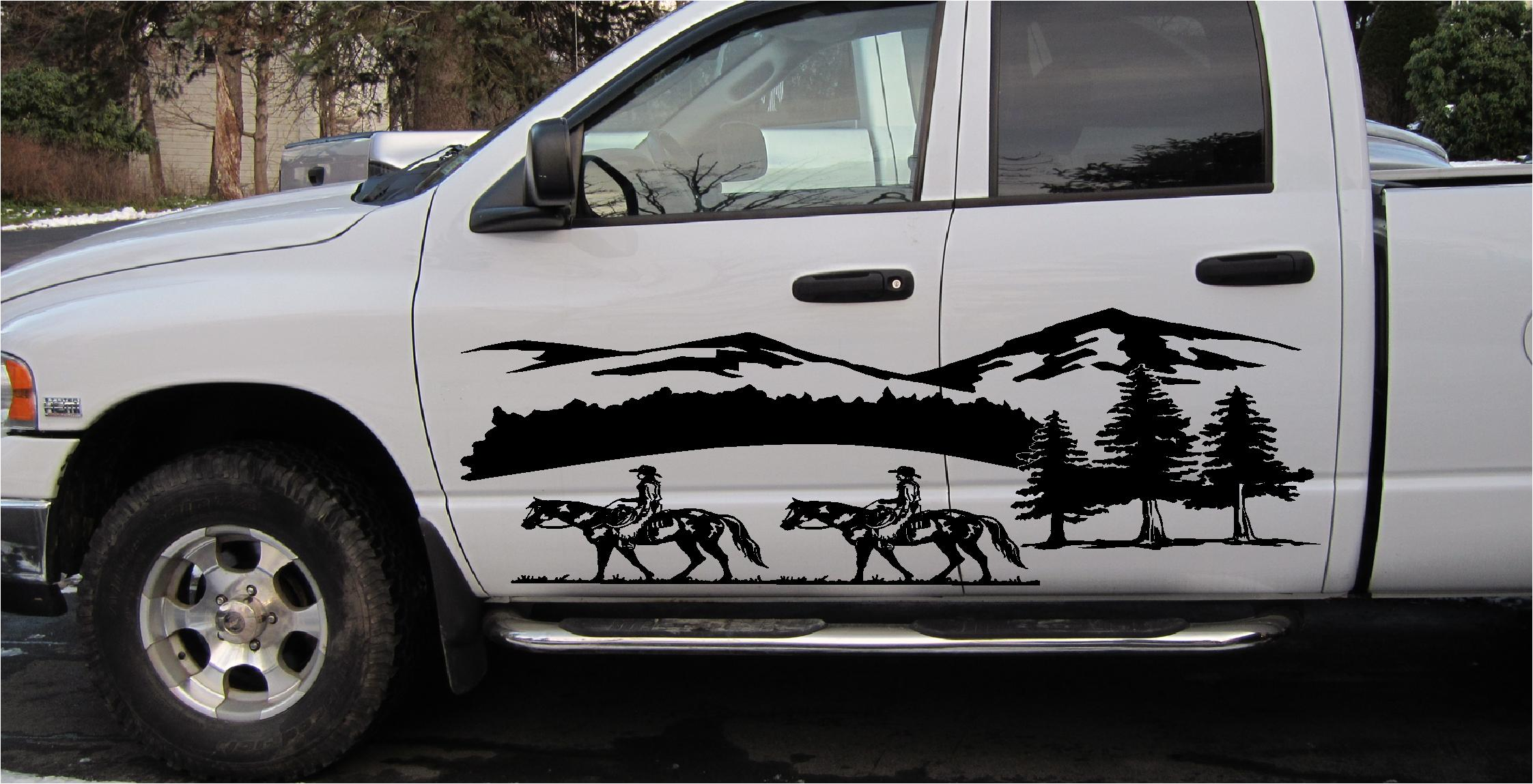 Horse Horses Cowboy Mountains Scenery Decal Decals Graphics - Cowboy custom vinyl decals for trucks