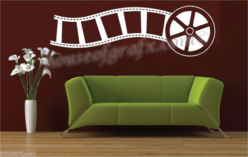 Movie film reel strip theater wall art vinyl decal decals - Stickers cinema mural ...
