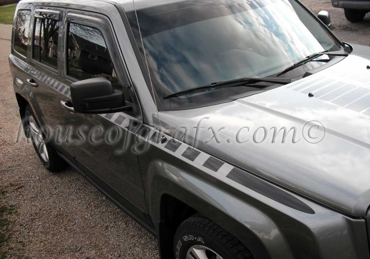 Body strobe cuda style stripe graphics decals fits jeep patriot