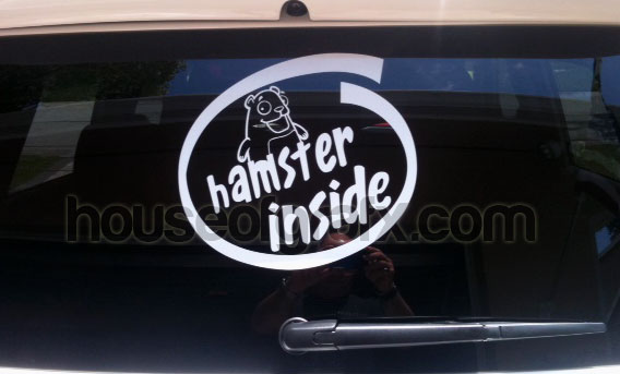 Happy Hamster Inside Decal Decals Sticker Fits Any Kia