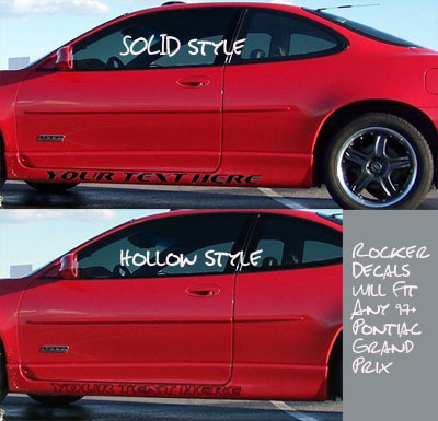 Pontiac grand prix side skirt rocker decals decal graphics