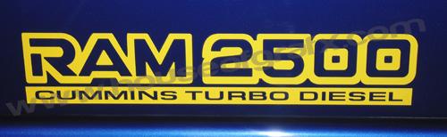 Pair Of 2500 Cummins Turbo Diesel Decals Graphics Fit