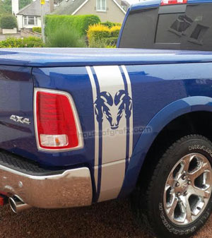 Flaming Ram Bed Stripe Stripes Decals Graphis Fit Dodge Trucks - Truck bed decals custombody graphicsdodge ram