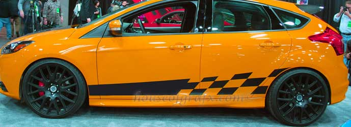 Checkered Stripe Decal Graphic Fits Ford Focus Shelby 14