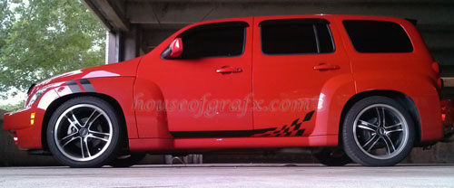Checkered 004 Style Rocker Graphics Decals Fit Chevy Hhr