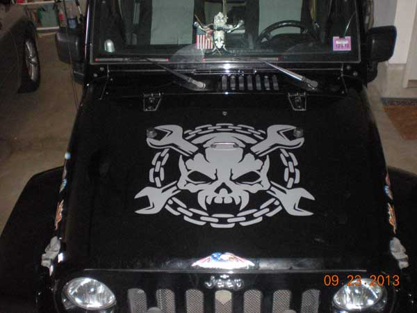 Hood Skull Skulls Wrench Chains Decal Decals Graphics
