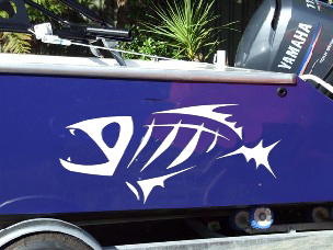 Boat Hull Fish Skeleton Decal Decals Graphics Sticker G Loomis - Vinyl fish decals for boats