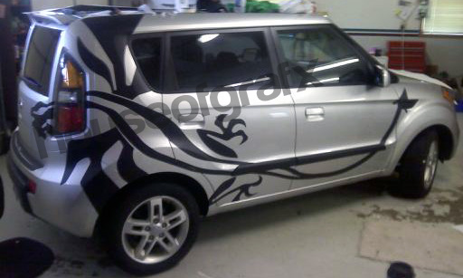 Flaming Tribal Full Body Dragon Graphic Decal Fits Any Kia